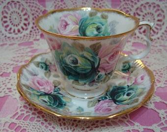 Beautiful Vintage Royal Albert Summer Bounty Series JADE Cup & Saucer.