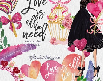 Valentine Hand painted Watercolor Clipart