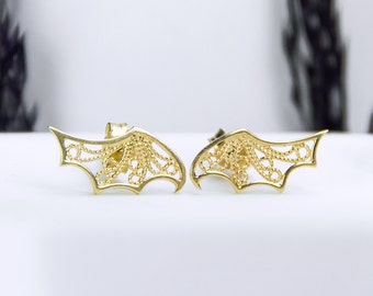 Devolo Wing Stud Earrings - Gold, Tiny Angel Wing Stud Earrings, Sterling Silver Studs, Gold Angel Wings, Everyday Earrings, Filigree Studs