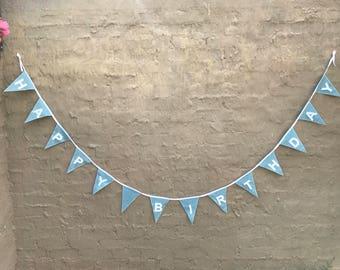 Happy birthday bunting blue glitter