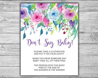 Floral - Baby Shower - Don't Say Baby - Game - Sign - Purple - Blue - Pink - Instant Download - Printable - 051