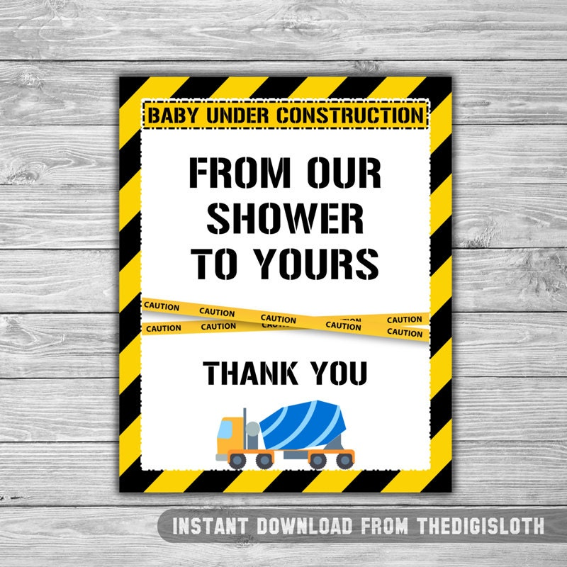 Construction   Baby Shower   Thank You   Sign   PRINTABLE   INSTANT  DOWNLOAD   From