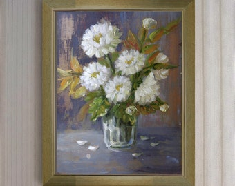 """Original oil painting still life """"White chrysanthemums """" gift for your loved ones/ White flowers"""
