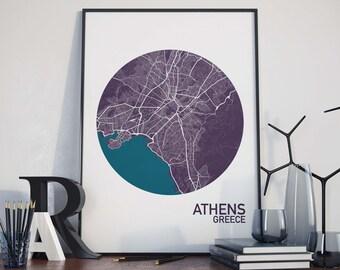 Athens, Greece City Map Print