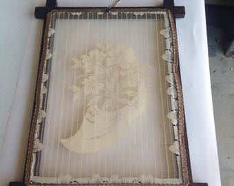 Vintage wooden framed piece of handmade lace