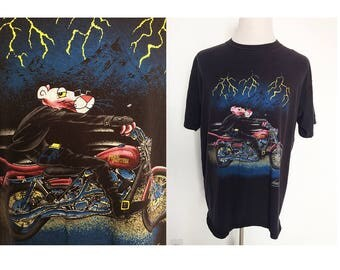 Vintage 1993 Pink Panter Harley Davidson Chopper bike motorcycle biker rider auto toons