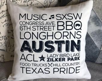 Best of Austin Texas  Screen Printed Pillow