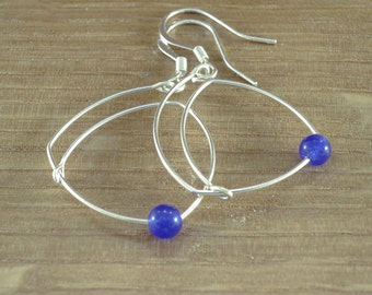 rounded triangle and bead earrings