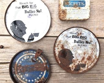 butter-nut coffee tin lids & sucrets box