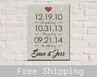 Important Dates Canvas - Engagement Gift - Anniversary Gift - Personalized Canvas print - Bridal  Shower Gift - Free Shipping