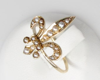 gold fleur de lis ring, pearl fleur de lis ring, 19th-C fleur de lis ring, stylized flower ring, gold antique pearl ring, French royal ring