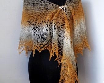 Hand knitted Shawl, sand colours - honey, grey, white lace shawl