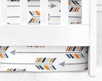 Orange grey and navy tribal arrow crib sheet, tribal nursery, baby bedding, baby boy