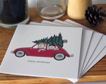 Christmas Cards Pack of 5 Multipack Vintage Inspired