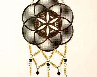 Sacred Geometry Wall Hanging, Seed of Life Dream Catcher, Bridal Gift, Crystal Mobile, Pearl, Garnet, Gold, Boho Decor, Spiritual Art
