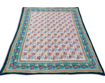 Double Bed Hand Block Printed Green Color Quilt in Floral Design Size 90x108 Inch