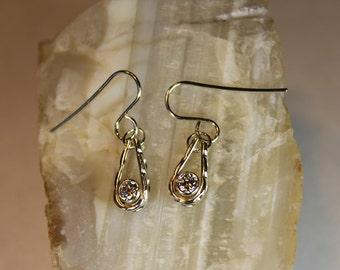 Earrings Teardrop Hoop with Cubic Zirconia Handmade Solid Sterling Silver