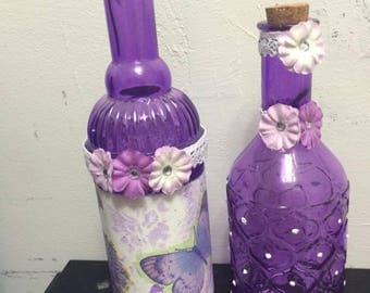 Set of glass bottles decorated perfect for a room or bathroom