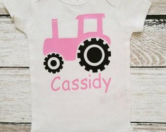 Tractor Shirt, Tractor Bodysuit, Farmer's Shirt, Personalized Tract Shirt, Farming Shirt, Monogrammed Shirt, Custom Tractor Shirt