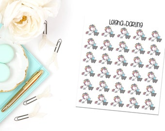Grocery Cart Unicorn Planner Stickers