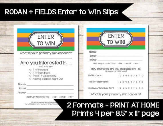 RODAN AND FIELDS Enter to Win Raffle Ticket Door Prize