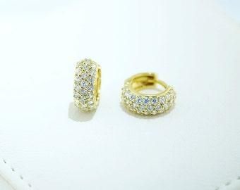 925 Sterling Silver - Gold Hinged Hoop Earrings (S276)