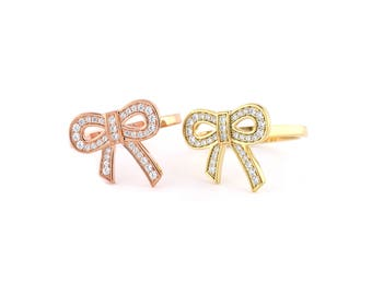 929 Sterling Silver - Bow Tie with CZ ring, 14k gold & rose gold bow ring, Daily ring (S579)
