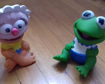 vintage rubber toys/baby Animal & baby Kermit/ 80's/ Muppet Babies/Rare