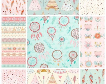 Custom baby girl patchwork blanket, teepees, feathers, dream catcher quilt, pink and turquoise
