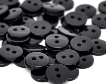 15 Pcs Resin Sewing Button Scrapbooking Round Black Two Holes 9mm x 2mm - 21