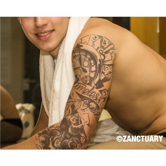 men temporary tattoo sleeve full arm sleeve tattoo flower. Black Bedroom Furniture Sets. Home Design Ideas