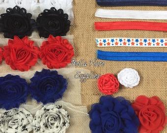 4th of July Headband Kit- Red White Blue Stars Headband Kit- 8 DIY Headbands- Baby Shower Headband Kit- Craft Show- Large Headband Kit