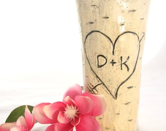 Personalized Initials Carved Heart Ceramic Faux Wood Vase / Personalized Vase