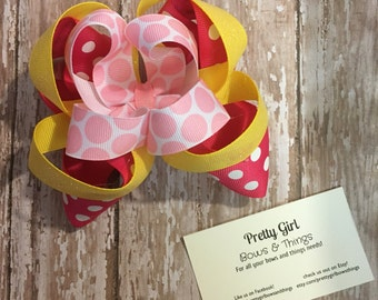 Pink and yellow polka dot stacked hairbow-princess stacked bow-birthday stacked bow-birthday princess stacked bow, easter stacked bow