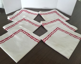 "Vintage candy cane red and white trim 16"" napkins, set of six. Free shipping!"