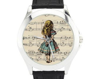 Alice in Wonderland Watch - Alice Dreaming Watch - Alice Jewelry - Alice on Antique Music Page Wrist Watch