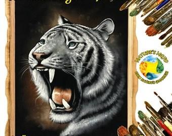 White Tiger Growling Oil Velvet Painting