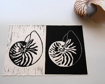 Nautilus shell, Linocut print, Ocean Art, Seashell print, Beach art, Beach house decor, Black and white art,