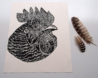 Chook Lino print, linoprint, Hen print, Chicken linocut, Kitchen art, hen linoprint, bird art, chicken print, chook art, chicken, Art Sale