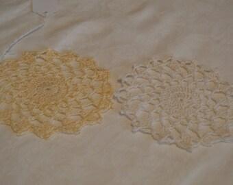 "Crocheted Mini 4 3/4"" Ligh Ecru Doily and White Doily Hand Made Crochet Item #4122,4123"