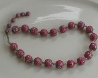 Vintage Venetian Wedding Cake Beads Necklace Pink Red Tones Italian Glass Beads 1930's