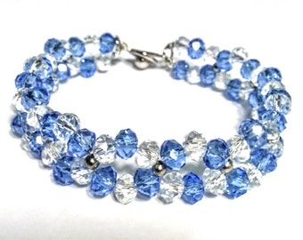 "7.5 ""Blue&White Crystal Bracelet with Stainless Steel Spacer Beads"