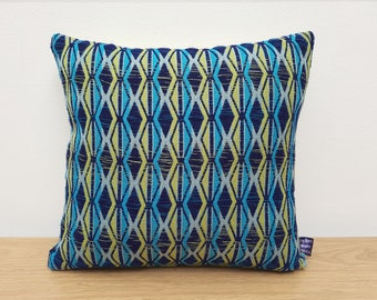 Diamond Cushion, handwoven cotton cushion,  Cotton and Wool cushion, Turquoise Navy Lime Pillow,