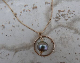 Lavender Tahitian Pearl Gold Necklace