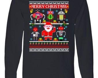 Retro Robotic Santa Ugly Christmas Sweater (Ugly Sweater Style)- Long Sleeve Shirt