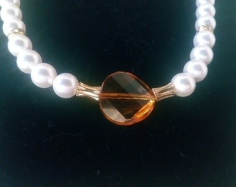 Swavorski Pearl and Crystal Necklace and Earrings