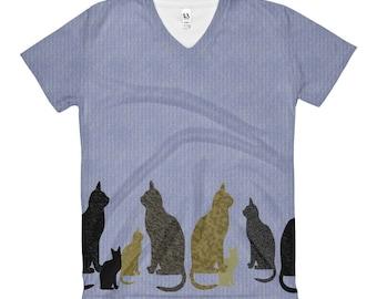 Ladies t-shirt cats art ladies t-shirt or  v-neck all over art t-shirt