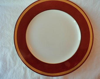 Minton Dinner Plate Red Edge, Gold band on Verge and Gold Trim on Edge circa 1912 England