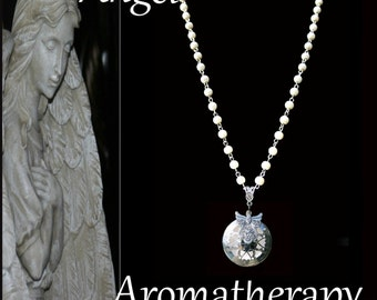 Essential Oil Angel Pearl White Bead Diffuser Necklace Young Living Doterra Aromatherapy