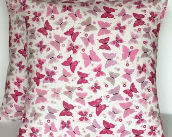"2 x 16"" Flutterfly Pink Grey Off-White Cushion Covers"
